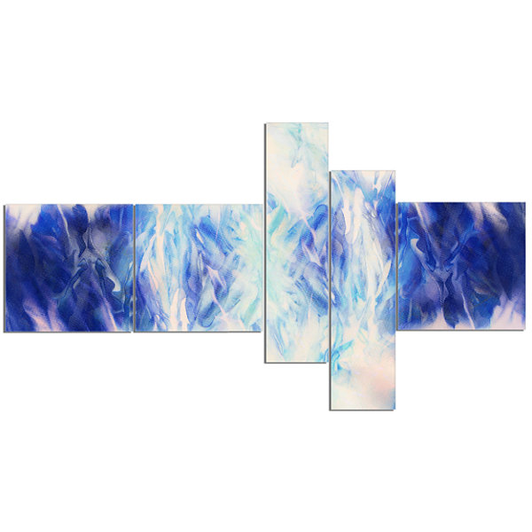 Designart Blue Collage With Spots Multipanel Abstract Canvas Art Print - 5 Panels