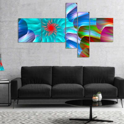 Designart Multi Layered Fractal Spirals MultipanelAbstract Canvas Art Print - 5 Panels
