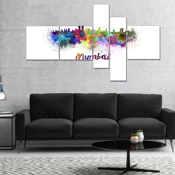 Designart Mumbai Skyline Multipanel Cityscape Canvas Artwork Print - 4 Panels