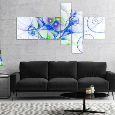 Designart Blue Colored Curly Spiral Multipanel Abstract Wall Art Canvas - 4 Panels