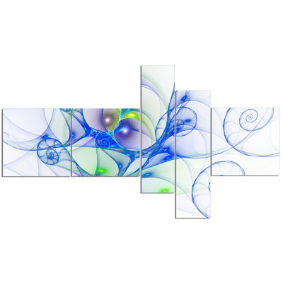 Designart Blue Colored Curly Spiral Multipanel Abstract Wall Art Canvas - 5 Panels