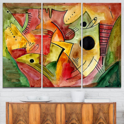 Designart Stimulating Mood Abstract Canvas Art Print - 3 Panels