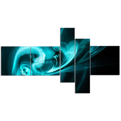 Design Art Blue Colored Smoke Pattern Multipanel Abstract Canvas Art Print - 5 Panels
