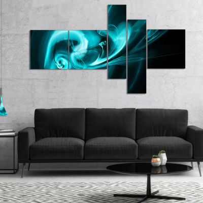 Designart Blue Colored Smoke Pattern Multipanel Abstract Canvas Art Print - 5 Panels