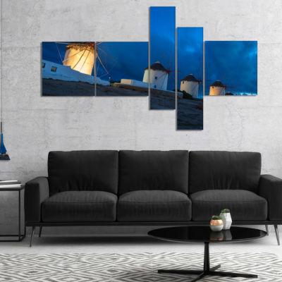 Designart Mykonos Windmills At Blue Hour Multipanel Landscape Photography Canvas Print - 5 Panels
