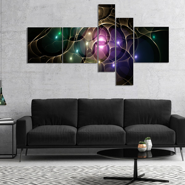 Designart Myriad Of Colored Space Circles Multipanel Abstract Canvas Art Print - 5 Panels