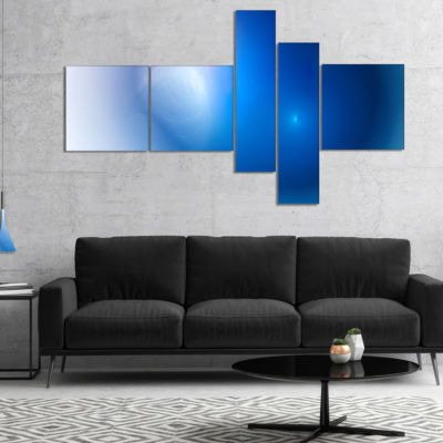 Designart Mysterious Blue Fractal Texture Multipanel Abstract Wall Art Canvas - 4 Panels
