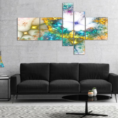 Designart Blue Cosmic Black Hole. Multipanel Abstract Art On Canvas - 5 Panels
