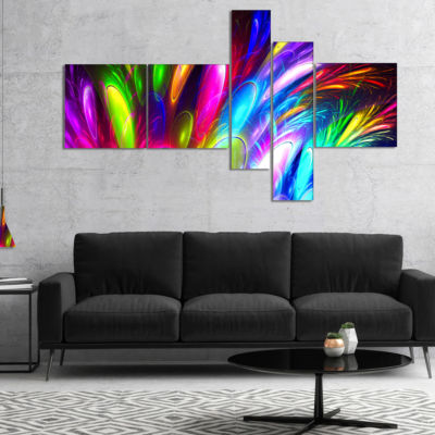 Designart Mysterious Psychedelic Design MultipanelAbstract Canvas Art Print - 5 Panels