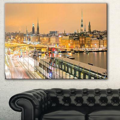 Designart Stockholm Cityscape Panorama CityscapePhoto Canvas Print - 3 Panels
