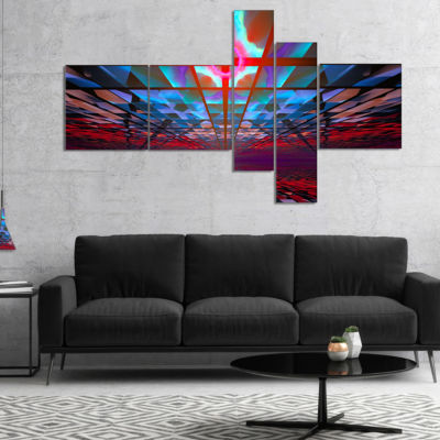 Designart Blue Cosmic Horizons Apocalypse Multipanel Abstract Art On Canvas - 5 Panels