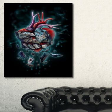 Designart Stone Heart Revival Abstract Canvas ArtPrint