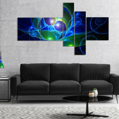 Design Art Blue Curly Spiral On Black Multipanel Abstract Wall Art Canvas - 5 Panels