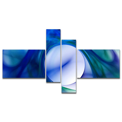 Designart Mystic Blue Fractal Multipanel AbstractWall Art Canvas - 4 Panels