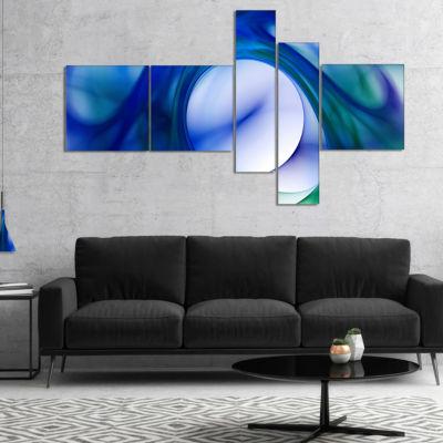 Designart Mystic Blue Fractal Multipanel AbstractWall Art Canvas - 5 Panels