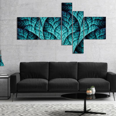 Designart Blue Exotic Biological Organism Multipanel Abstract Canvas Art Print - 5 Panels