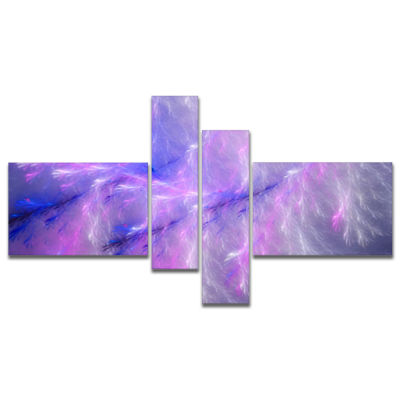 Design Art Mystic Blue Thunder Sky Multipanel Abstract Canvas Art Print - 4 Panels