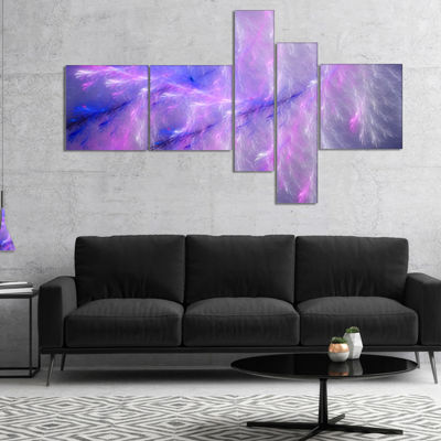 Designart Mystic Blue Thunder Sky Multipanel Abstract Canvas Art Print - 5 Panels