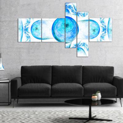 Designart Blue Exotic Fractal Pattern MultipanelAbstract Art On Canvas - 5 Panels