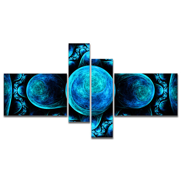 Designart Blue Exotic Pattern On Black MultipanelAbstract Art On Canvas - 4 Panels