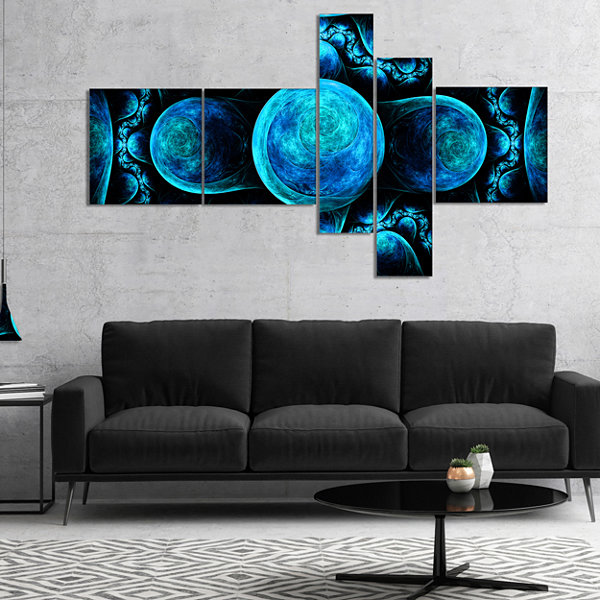 Designart Blue Exotic Pattern On Black MultipanelAbstract Art On Canvas - 5 Panels