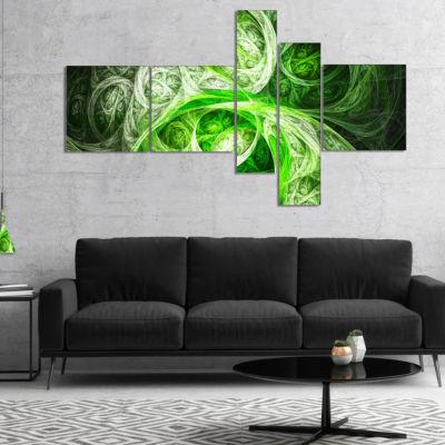 Designart Mystic Green Fractal Multipanel AbstractCanvas Art Print - 5 Panels