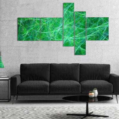 Designart Mystic Green Fractal Veins Multipanel Abstract Canvas Art Print - 4 Panels