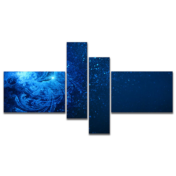 Designart Blue Falling Snow Multipanel Abstract Canvas Art Print - 4 Panels