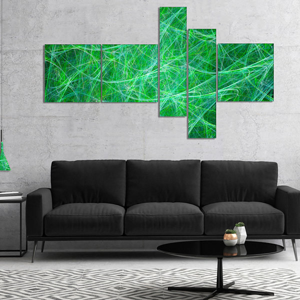 Designart Mystic Green Fractal Veins Multipanel Abstract Canvas Art Print - 5 Panels