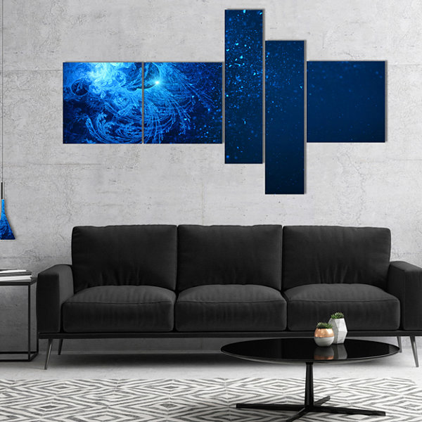 Designart Blue Falling Snow Multipanel Abstract Canvas Art Print - 5 Panels