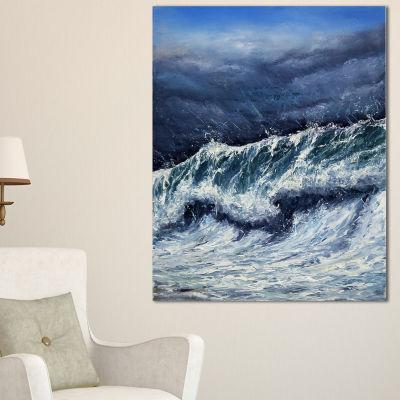 Designart Storm In Ocean Seascape Photography Canvas Art Print - 3 Panels