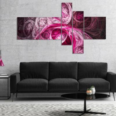 Designart Mystic Pink Fractal Multipanel AbstractWall Art Canvas - 4 Panels