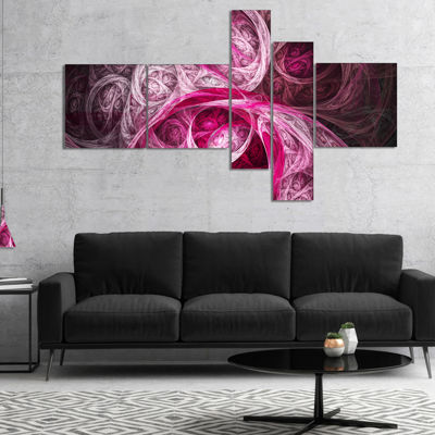 Designart Mystic Pink Fractal Multipanel AbstractWall Art Canvas - 5 Panels