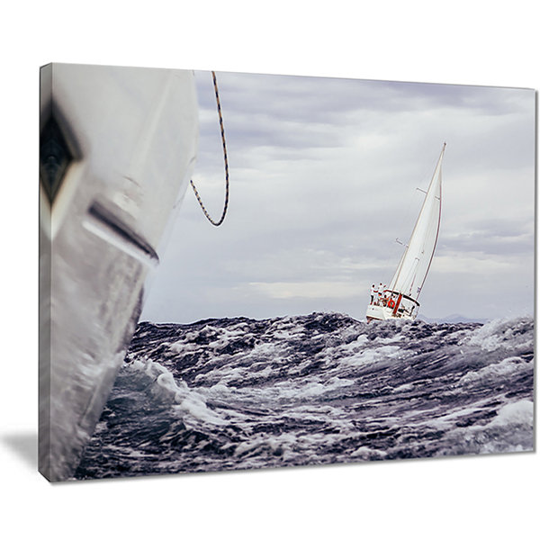 Designart Storm While Sailing Seascape Canvas ArtPrint