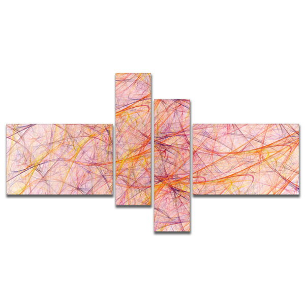 Designart Mystic Pink Fractal Veins Multipanel Abstract Canvas Art Print - 4 Panels