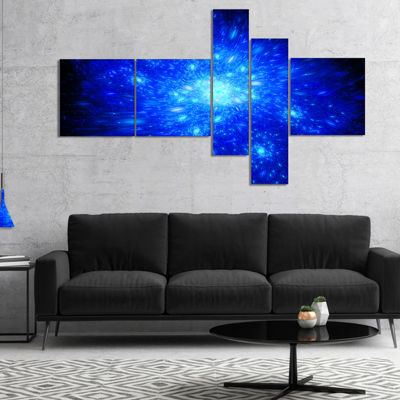 Designart Blue Fireworks On Black Multipanel Abstract Art On Canvas - 5 Panels