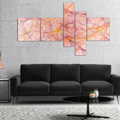 Designart Mystic Pink Fractal Veins Multipanel Abstract Canvas Art Print - 5 Panels