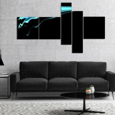 Designart Blue Flames Digital Artwork MultipanelAbstract Art On Canvas - 4 Panels