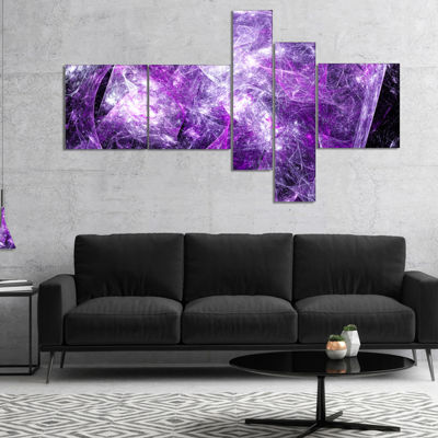 Designart Mystic Purple Fractal Multipanel Abstract Wall Art Canvas - 4 Panels