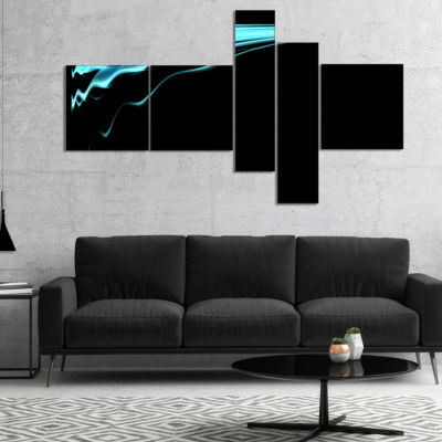 Designart Blue Flames Digital Artwork MultipanelAbstract Art On Canvas - 5 Panels
