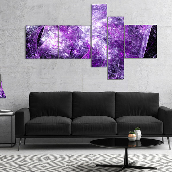 Designart Mystic Purple Fractal Multipanel Abstract Wall Art Canvas - 5 Panels
