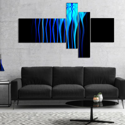 Designart Blue Flames Fractal Pattern MultipanelAbstract Art On Canvas - 4 Panels