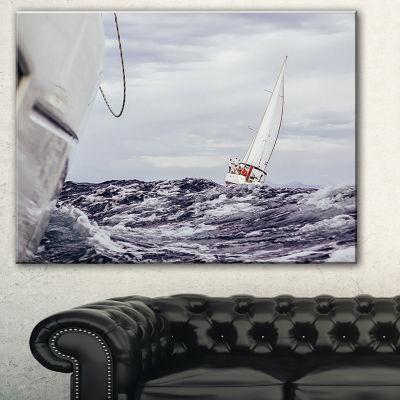 Designart Storm While Sailing Seascape Canvas ArtPrint - 3 Panels