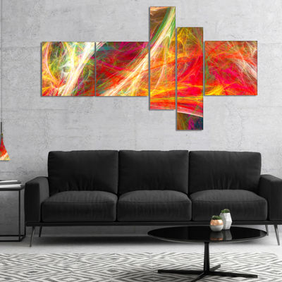 Designart Mystic Red Fractal Multipanel AbstractWall Art Canvas - 5 Panels