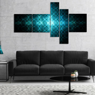 Designart Blue Flash Of Light On Radar MultipanelAbstract Wall Art Canvas - 4 Panels