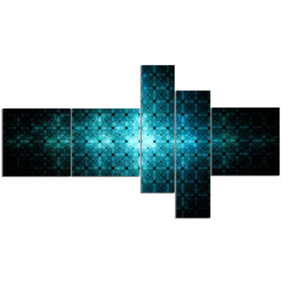 Designart Blue Flash Of Light On Radar MultipanelAbstract Wall Art Canvas - 5 Panels