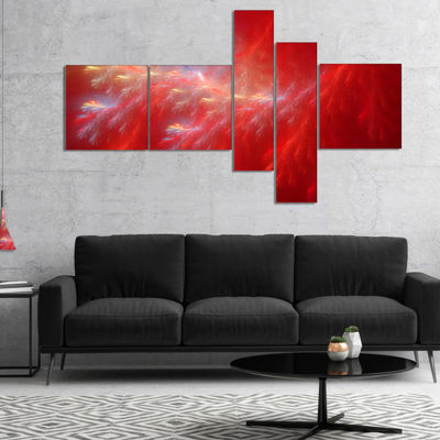 Designart Mystic Red Thunder Sky Multipanel Abstract Canvas Art Print - 5 Panels