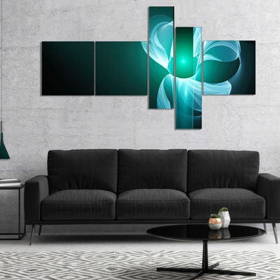 Designart Blue Flower Fractal Illustration Multipanel Abstract Canvas Art Print - 4 Panels