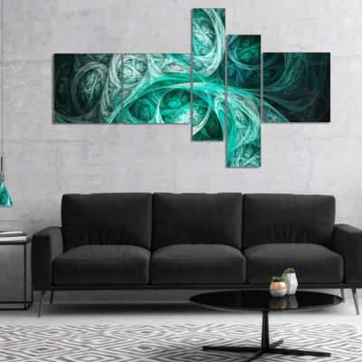 Design Art Mystic Turquoise Fractal Multipanel Abstract Wall Art Canvas - 4 Panels