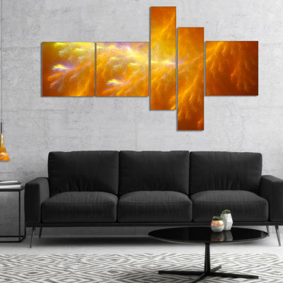 Designart Mystic Yellow Thunder Sky Multipanel Abstract Canvas Art Print - 5 Panels